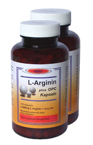 200x L-Arginin 600mg (Base) plus Kapseln Aktionspreis